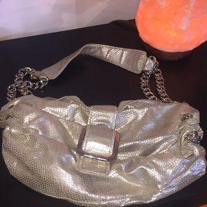 BCBG girl silver chain hobo bag purse